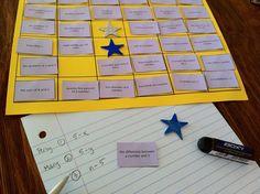 Math vocabulary at cheesemonkey wonders: WEEK 'Words into Math' Block Game Algebra Activities, Maths Algebra, Math Resources, Math Games, Math Vocabulary, Math Teacher, Math Classroom, Teaching Math, Teacher Stuff