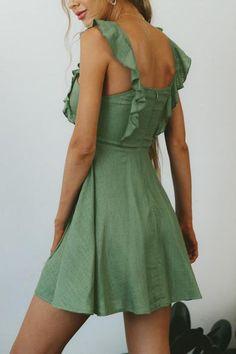 Depway Square Cap Sleeve Sleeveless A Line Mini Dresses Summer Dresses For Women, Dresses For Sale, Mini Dresses, Ruffle Sleeve, Ruffle Dress, Hot Outfits, Dress Outfits, Casual Dresses, Fashion Dresses