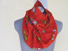 The Grinch Infinity Scarf  Great for a Stocking by AquamarCouture