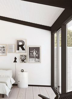white bedroom black details