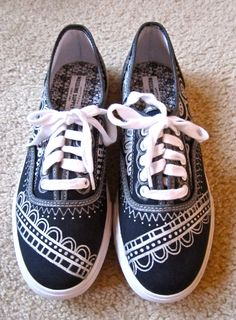 Need to find myself some white fabric paint. I love the idea of doodling on canvas shoes