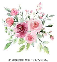 Similar Images, Stock Photos & Vectors of Pink flowers watercolor, floral clip art. Bouquet roses perfectly for printing design on invitations, cards, wall art and other. Isolated on white background. Simple Watercolor Flowers, Watercolor Leaves, Watercolor Rose, Watercolor Drawing, Branch Drawing, Leaf Drawing, Floral Drawing, Botanical Illustration, Botanical Art
