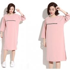 Hanbelle New Arrival Summer Fashion Slit Letter Print Round Collar Dress  ( 16.75) http  f037b855278b