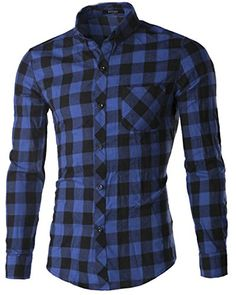 36 APTRO - Men's Cotton Blend Slim Fit Colorful Plaid Long Shirt Blue and Black US M APTRO http://www.amazon.com/dp/B00ZWBP0UC/ref=cm_sw_r_pi_dp_bwkHwb17BDZH9