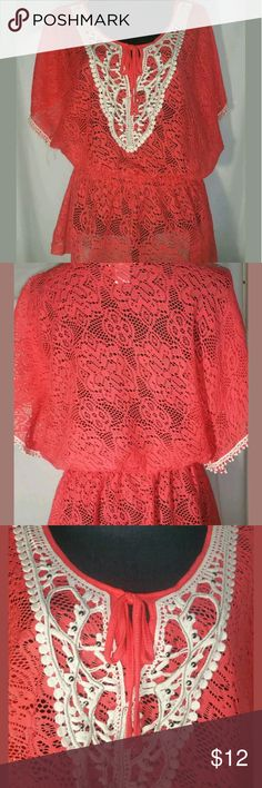 Monroe & Main Tunic Top Large Pre-Owned Top by Monroe and Main.  Either orange in color or coral  Has Lace and some crochet  Elastic waist  Large Monroe & Main Tops Tunics