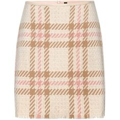 Marc Cain Check A-Line Skirt, Sahara ($160) ❤ liked on Polyvore featuring skirts, bottoms, pink a line skirt, fringe mini skirt, pink mini skirt, fringe skirts and pink plaid mini skirt