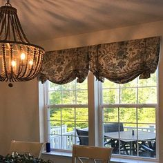 Relaxed Roman shade with tails CUSTOM - your fabric, my linings Drapery Panels, Valance Curtains, Valance Ideas, Burlap Curtains, Kitchen Window Treatments, Custom Window Treatments, Arched Windows, Big Windows, Bay Window Curtains