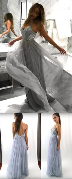 Spaghetti Lace Tulle Long A-line Light Grey Prom Dresses, Backless Prom Dresses ,PD0336