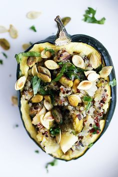 Roasted Acorn Squash Stuffed with Autumn Flavored Quinoa
