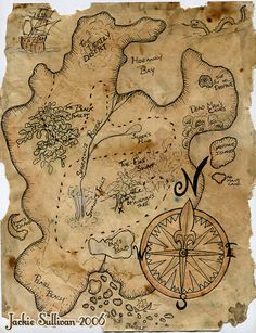 Treasure Map Project by jackieocean. Materials used: plain white printer paper, ink, watercolor, a little bit of watered down gold acrylic paint, water, and coffee grounds.