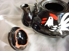 Vintage Black Teapot with Rooster Motif Wire Handle Pottery Redware Clay  Seller florasgarden on ebay