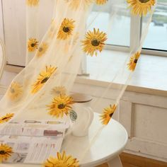 Tulle Window Sunflower Curtain Drape Divider Panel Voile Valances Scarf Sheer BK in Home & Garden, Window Treatments & Hardware, Curtains, Drapes & Valances | eBay