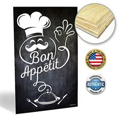 ZENDORI ART Bon Appetit Fat Chef Chalkboard Kitchen Decor Wood Art 12 x 18 -- Continue to the product at the image link.