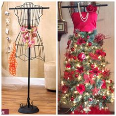 Mannequin Christmas tree I made using metal mannequin form from Lakeside Collection