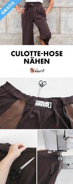 Culotte-Hose selber nähen - Gratis-Nähanleitung via Makerist.de #nähenmitmakerist #nähen #nähanleitung #schnittmuster #schnitt #nähenmachtglücklich #nähenistwiezaubernkönnen #nähenisttoll #sewing #sew #sewingproject #diy #diyproject #gratis #ebook #freebook #culotte #hose #hosenähen