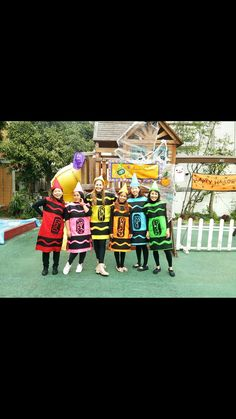 Crayon costumes that hubby and I made for the teachers.