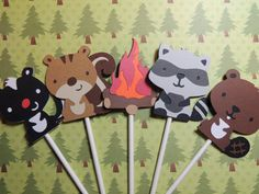 12 Woodland cupcake toppers with fire. Great for camping party. Skunk, squirrel, campfire, raccoon, beaver. Ready to ship.