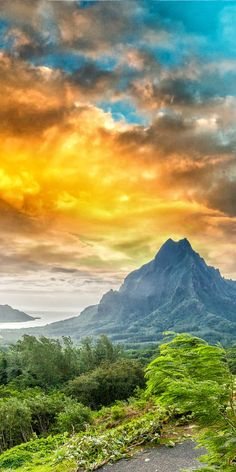 Rotui mountain on the tropical pacific island of Moorea, near Tahiti in French Polynesia