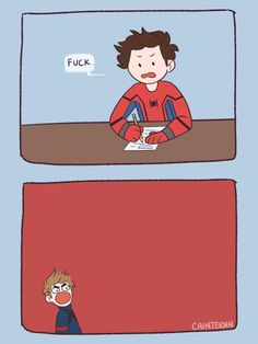 Read ♦️♣️~AEC~♣️♦️ from the story Memes /Comics ~♡~ Spidey/Tom Holland/Avenger by SilverSpideyBam (☽ 𝒹 𝓇 𝑒 𝒶 𝓂 𝒾 𝓃 𝑔 ☾) with 49 reads. cute, memes, to. Avengers Humor, Marvel Avengers, Funny Marvel Memes, Marvel Jokes, Marvel Art, Marvel Dc Comics, Marvel Heroes, Funny Comics, Funny Jokes