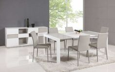 Extendable Glass Top Leather Italian Dining Table and Chair Sets - modern - dining tables - phoenix - by Prime Classic Design Extendable Dining Table Set, White Dining Table, Modern Dining Room Tables, Dining Room Sets, Dining Table Chairs, Dining Room Furniture, Dump Furniture, Coaster Furniture, Kitchen Chairs