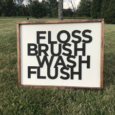 Excited to share the latest addition to my #etsy shop: Floss Brush Wash Flush Laser Cut Sign. Home Decor. Laser Word. Bathroom Decor. Framed Sign. Bathroom Sign. Farmhouse #homedecor #bathroom #joannagaines #lasercutsign #fixerupperstyle #brushflosswash #bathroomdecor #farmhousebathroom #framededgesign