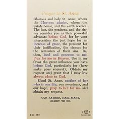Prayer to St. Anne - Prayer Card Durable and everlasting laminated holy prayer card that contains a color image of Saint Anne with daughter Mary on. St Anne Prayer, My Prayer, Catholic Company, Kind And Generous, Godly Wife, Hail Mary, Catholic Prayers, Prayer Cards, Card Reading