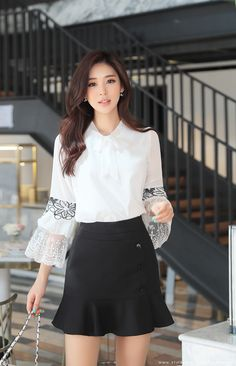 Korean Women`s Fashion Shopping Mall, Styleonme. Fall Outfits For Work, Casual Fall Outfits, Asian Fashion, Girl Fashion, Womens Fashion, Korea Dress, Girls In Mini Skirts, Tips Belleza, Beautiful Asian Women