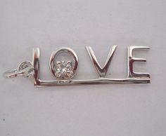 #925Silver #925Sterling #925SterlingSilver #Sterling #Silver #SterlingSilver #Rhodium #Rhodiumplated #CZ #CubicZirconia #LOVE #Pendant #Necklace 1.9g
