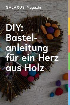Dieses selbstgemachte Holzherz eignet sich super als Geschenk und macht auch den Kindern viel Spass beim Basteln. Wir zeigen dir, wie's funktioniert. Collage, Super, Simple, Astronauts, Driftwood, Mother's Day, Collages, Collage Art, Colleges