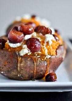 Roasted Grape, Goat Cheese + Honey Stuffed Sweet Potatoes I howsweeteats.com