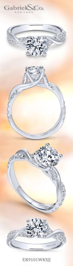Amavida by Gabriel & Co.-Voted #1 Most Preferred Fine Jewelry and Bridal Brand. 18k White Gold Round Twisted  Engagement Ring