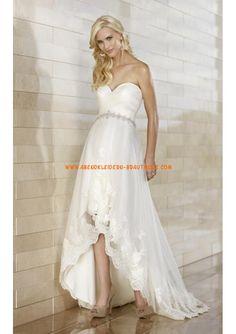 2013 Strand Brautkleider aus Satin und Organza Herzausschnitt mit Schleppe