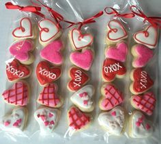 Valentine's Day Sugar Cookie Gift / party favor / heart cookies by Just4YouTreats on Etsy https://www.etsy.com/listing/264596688/valentines-day-sugar-cookie-gift-party