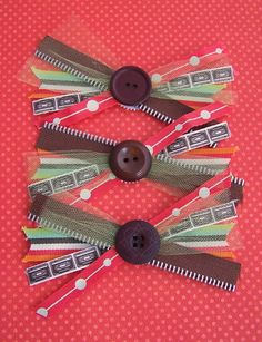 Ribbon Scrap Bows with button accents