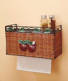 Stash a roll of towels out of sight in a Shelf With Paper Towel Holder. The wire top shelf is an excellent place to store spices and decorative items. Apple Kitchen Decor, Kitchen Themes, Country Kitchen, Kitchen Ideas, Home Themes, Apple Decorations, Ltd Commodities, Rooster Kitchen, Kitchen Window Treatments