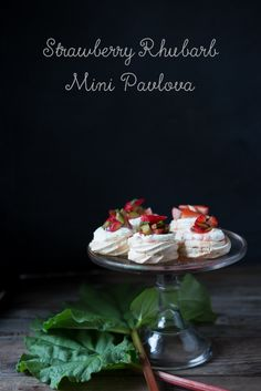 Mini Pavlovas with strawberries, rhubarb, and mint...with a meyer lemon scented whipped cream | www.feastingathome.com