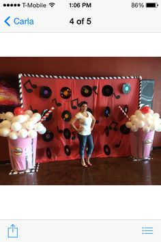 Backdrop for a Fifties Party. Grease Themed Parties, 50s Theme Parties, Grease Party, Sock Hop Decorations, Dance Decorations, 1950s Party Decorations, Fifties Party, Retro Party, Sock Hop Party