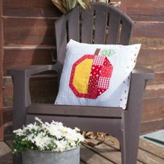 Apple-Sammeln Steppdecken-Quadrat von The Farm Girl Vintage Book Ich mache es in ein Kissen für meinen Sturz Veranda Dekor