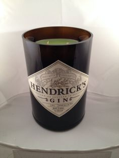 Handcut Hendrick's Gin Bottle All Natural Soy by BoozeHoundBottles, $24.95