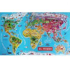 Mapa mundi puzzle magnético versión español ¡El puzzle más popular de todos! Los niños disfrutan mucho buscando y colocando cada país en su lugar a la vez que aprenden de una manera lúdica y pedagógica, a descubrir nuestro planeta. Cada magnet representa un país o una región del mundo con su nombre, su capital y una ilustración que lo caracteriza.