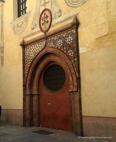 The door of the Catholic Church of Santiago Apóstol, in Malaga, Spain