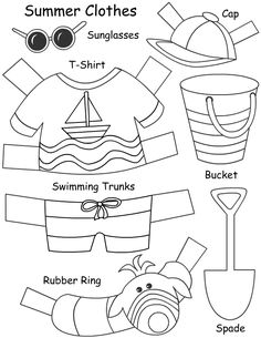 Paper doll activity for lesson on different types of clothes for different seasons and types of weather. Could be laminated and used as a center or make a set for each child to do. KW