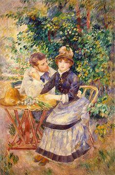 Pierre Auguste Renoir, In The Garden, 1885 이 커플은 아름답고 부드러운 정원의 아름다움과 함께 편안하게 보인다. 남성은 여자를 그윽히 쳐다보며 그녀의 주의를 끌기 바쁘다. 한 손으로 그녀를 잡고 그녀의 허리를 감싸고 있다. 하지만 이와 반대로 여성의 시선은 남성에게 꽤 무관심해 보인다. 같은 공간 다른 생각을 하는 듯한 이상한 커플인 듯 하다.