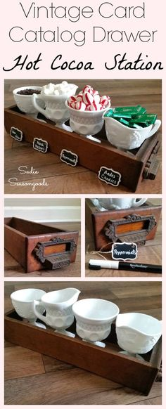 Create a simple, rustic, farmhouse-style hot cocoa bar /station by repurposing a vintage or antique card catalog drawer. Add some milk glass goblets (or mason jars) and fill with your favorite fixings for a mug of hot chocolate! Not fancy, but charming and cozy on a cold, winter's day. Fun, festive, and easy DIY upcycle project from #SadieSeasongoods / www.sadieseasongoods.com