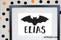 Personalised Bat Print - Kids Halloween Print - Bat - Kids Decor - Kids Prints - Kids Wall Art - Halloween Decor - Halloween Decorations - http://evilstyle.com/personalised-bat-print-kids-halloween-print-bat-kids-decor-kids-prints-kids-wall-art-halloween-decor-halloween-decorations