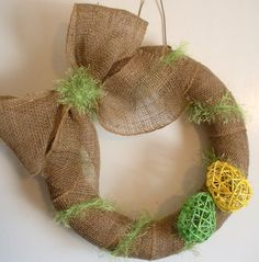 Burlap wreath with Easter eggs by AllisonStrider on Etsy, $39.00