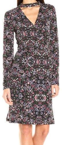 BCBGeneration Floral Cutout Sheath Choker Dress