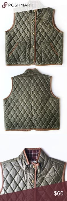 "EUC ORVIS Diamond-Quilted Vest, Women's M DESCRIPTIONS: EUC ORVIS Diamond-Quilted Vest, Women's M. Sleek cotton poplin; Diamond quilted; Treated for water-resistant finish; Faux-leather trim; Lightly insulated; Stand collar; Snap-Front placket; Front handwarmer pockets.  MEASUREMENTS (approx.): 21 1/;"" Length; 21"" Armpit to Armpit.  MATERIALS: Body & Lining: 100% Cotton; 100% Polyester Faux Leather trim; Hand wash.  CONDITIONS: Great condition; Shows minor signs of wear Orvis Jackets & Coats…"
