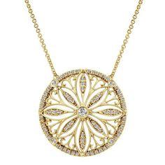 Gabriel Sand Dollar Diamond Filigree Pendant in 14K Yellow Gold · NK4193W44JJ · Ben Garelick Jewelers