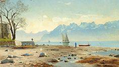 Peder Mørk Mønsted (1859-1941):   Springtime at Lac Léman in Switzerland